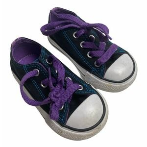 Converse baby size 5 black and purple sneakers
